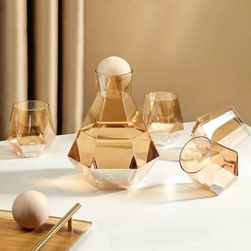 Crystal Hexagonal Geometrical Glass Set